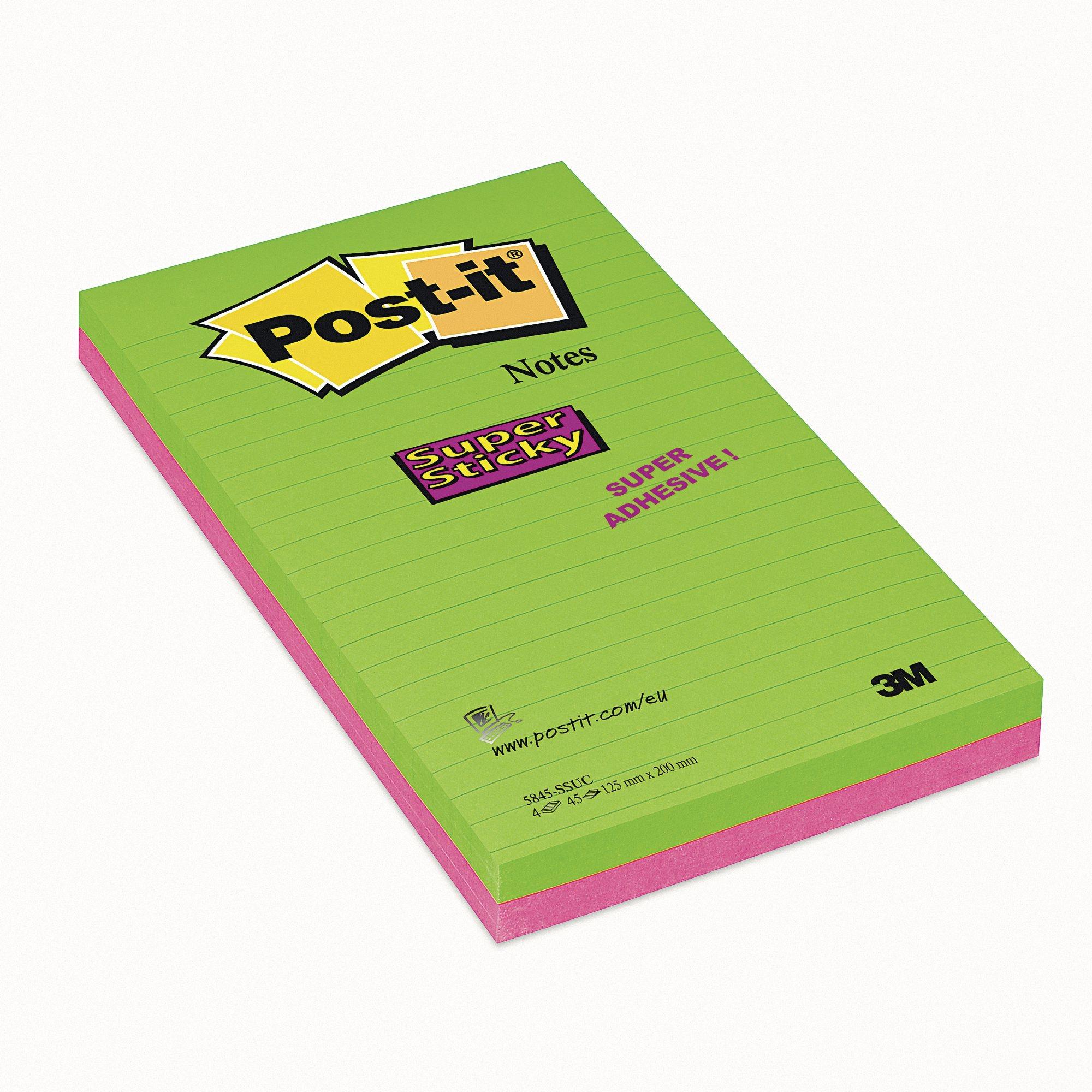 Post-It Super Sticky Notes 125X200 Pk4