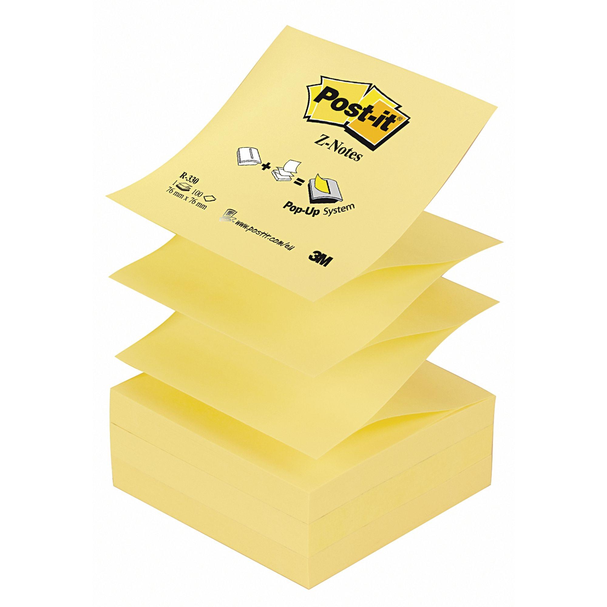 Post-it Z-Notes Yellow76x76mm Pk12