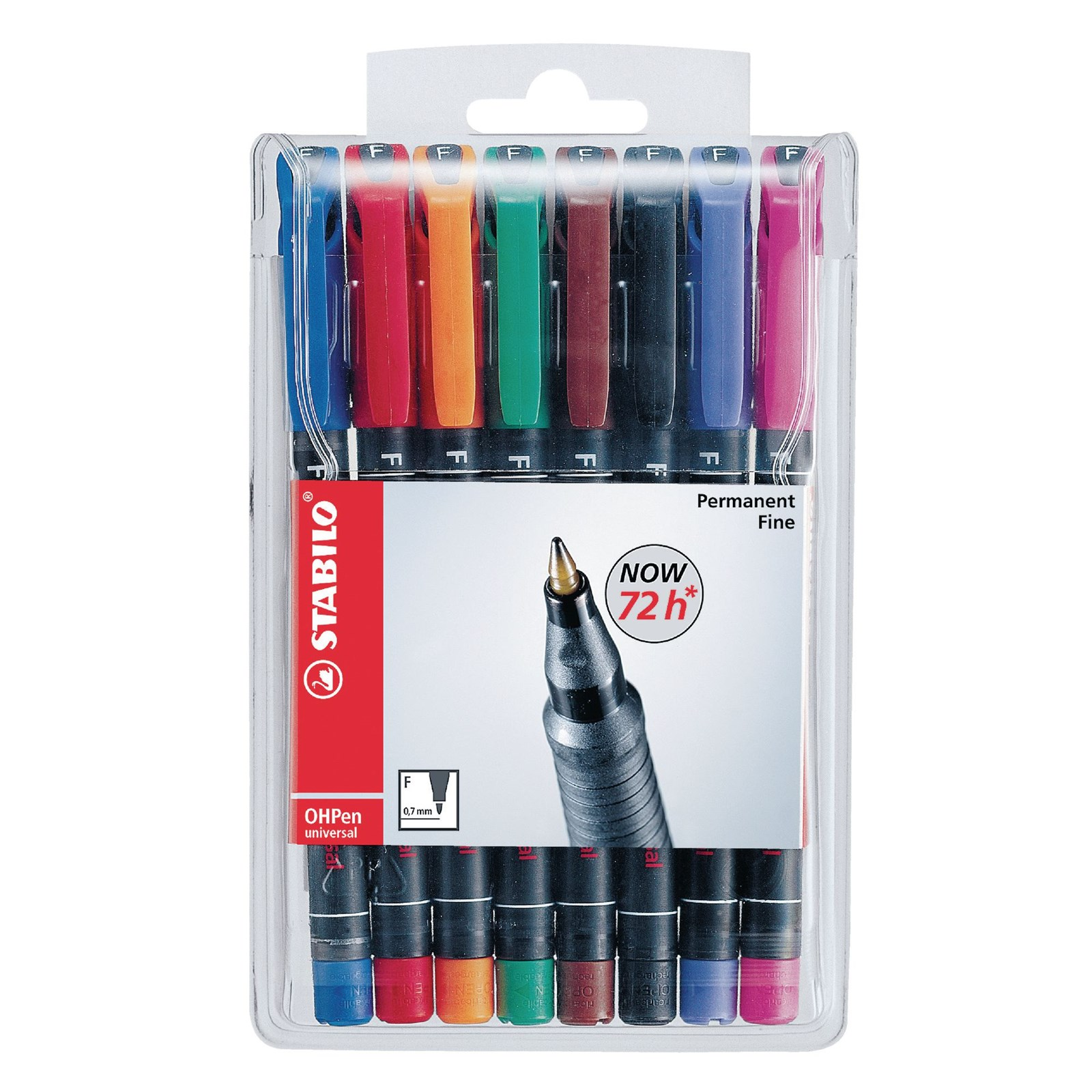 Stabilo OHP Marker Pens Assorted, Fine Tip - Pack of 8