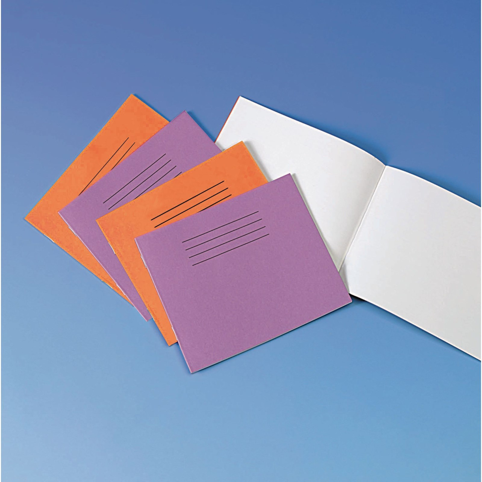 """Orange 5.25x6.5"""" Exercise Book 24-Page, Plain - Pack of 100"""