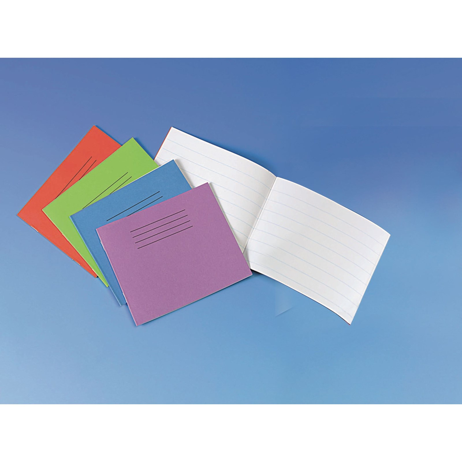 """Vivid Blue 5.25x6.5"""" Exercise Book 24-Page, 8mm Ruled - Pack of 100"""
