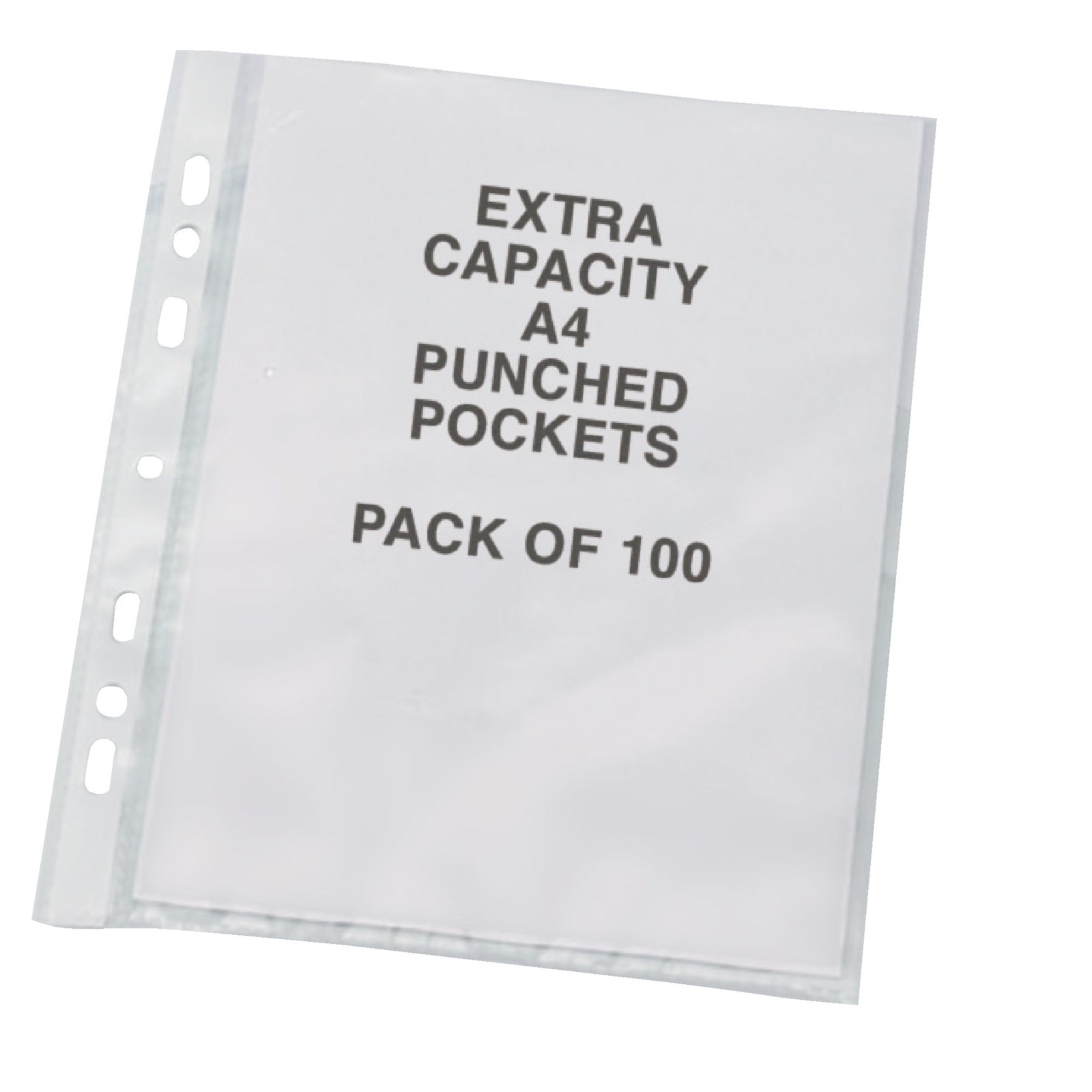 Punched Pocket A4 Extra Wide Clear - Pack of 100