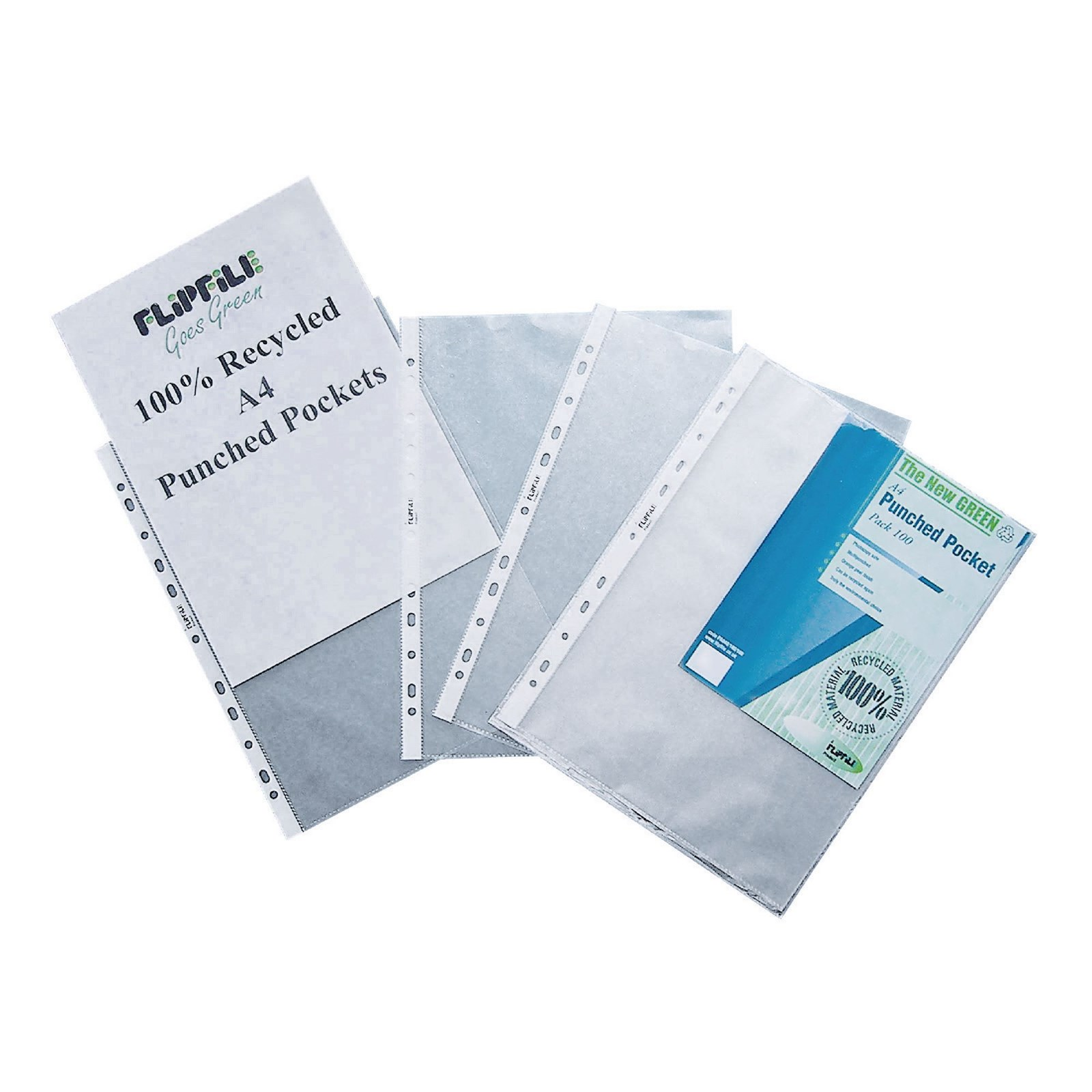 Flipfile Recycled Punched Pocket A4 Clear - Pack of 100