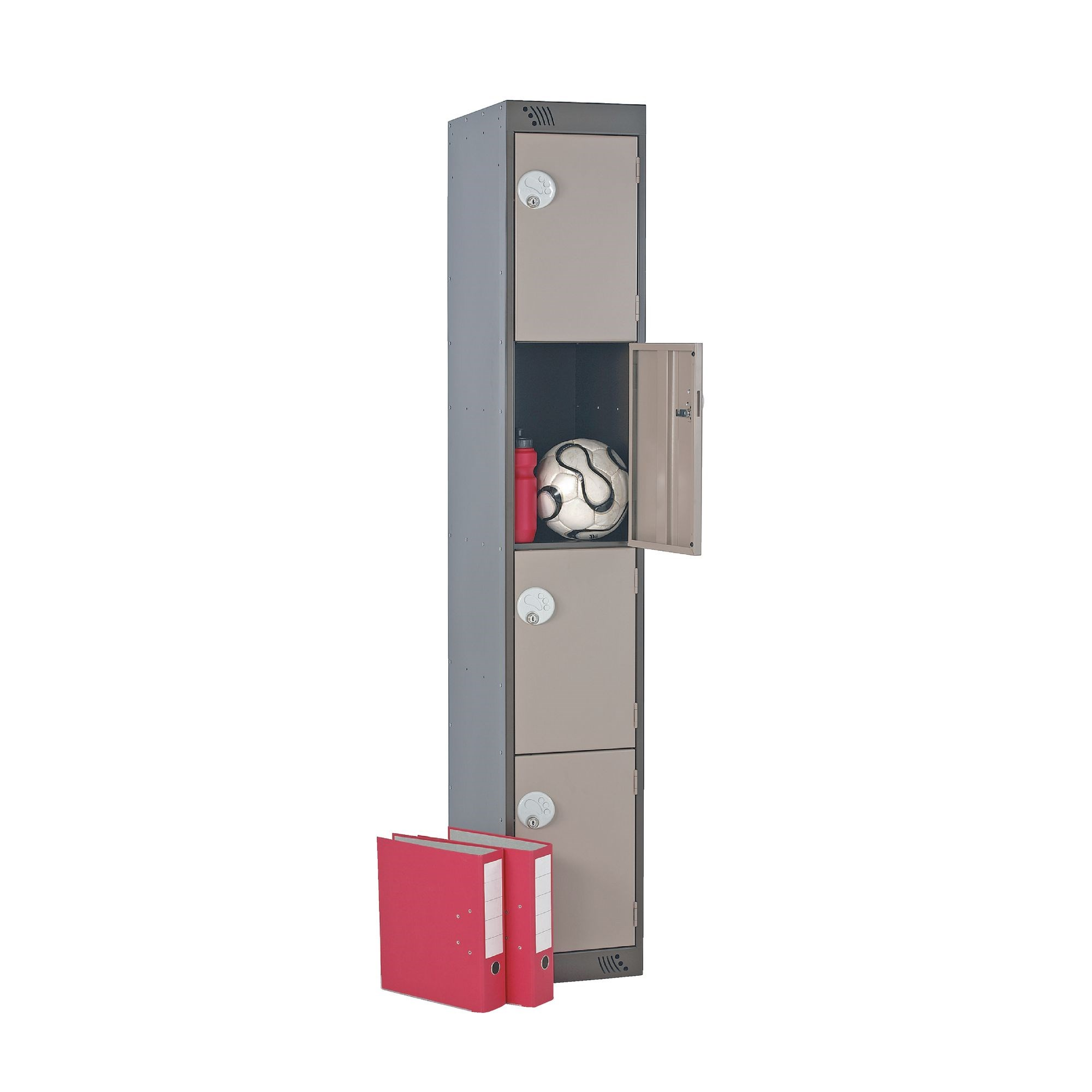 Four Door Locker - Nest of 3 - Light Grey - Pistol Grip