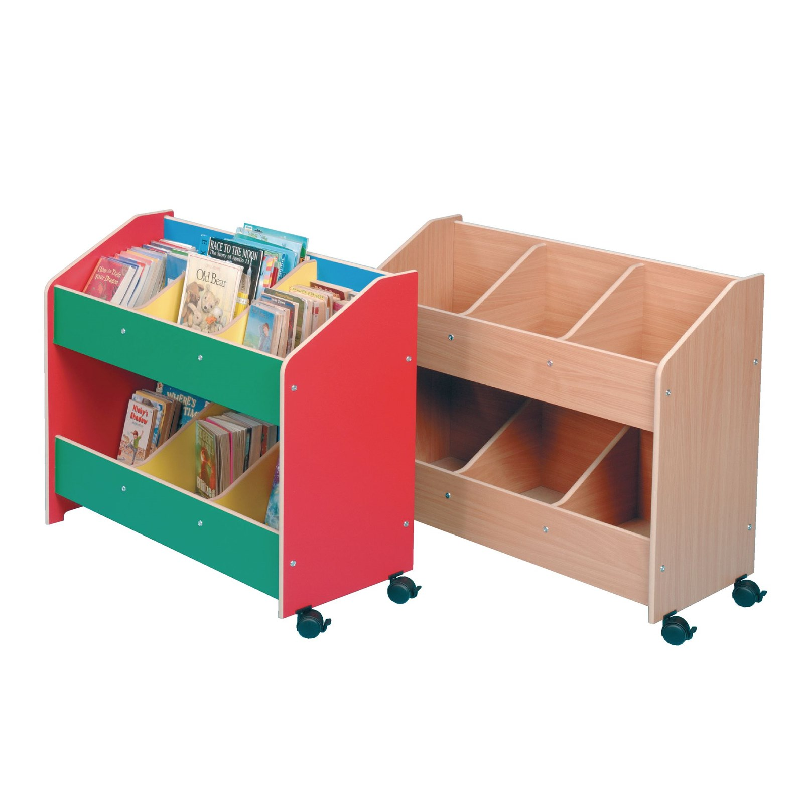mobile book stand 920 x 390 x 800mm lockable castors multi