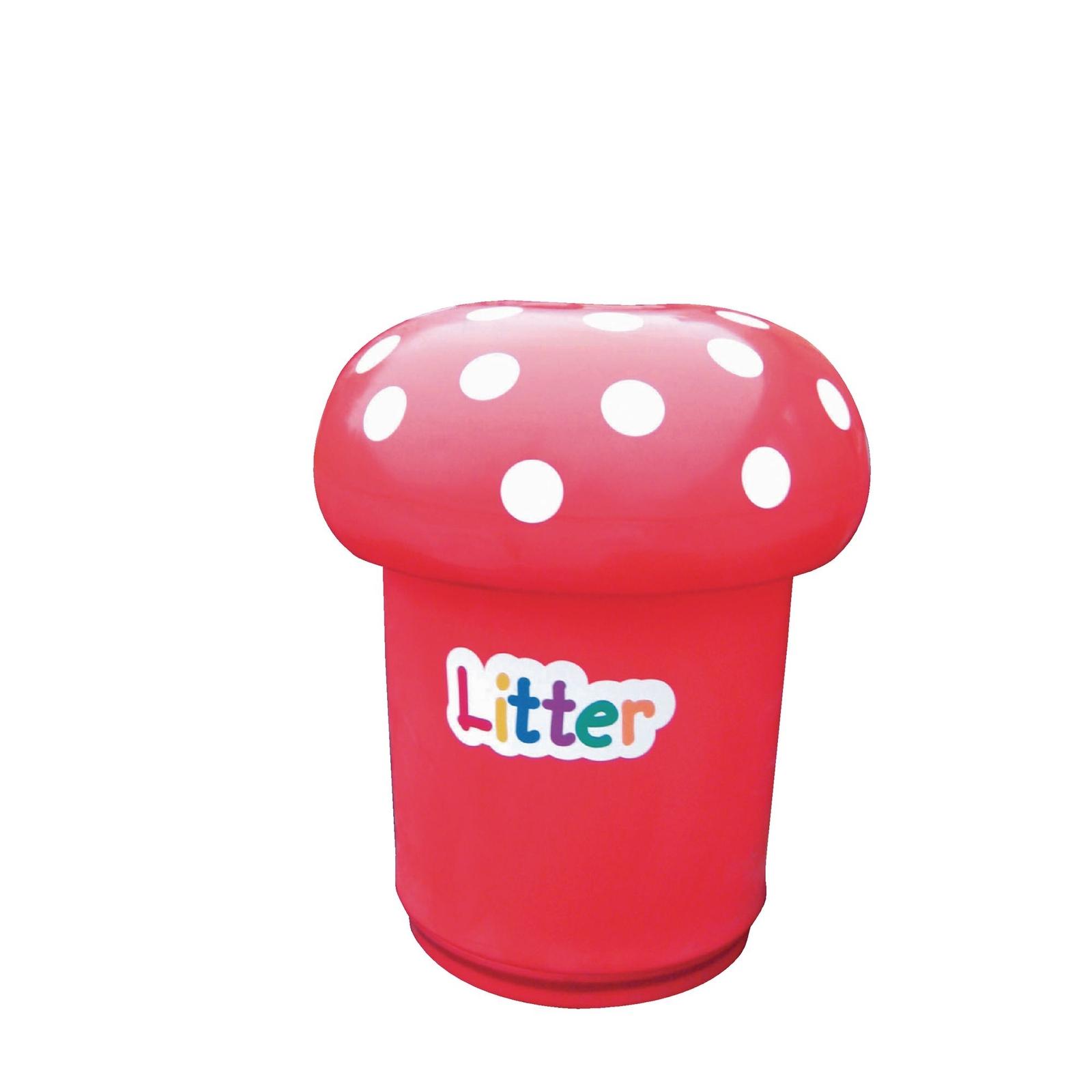 Mushroom Litter Bins - Litter label - Red