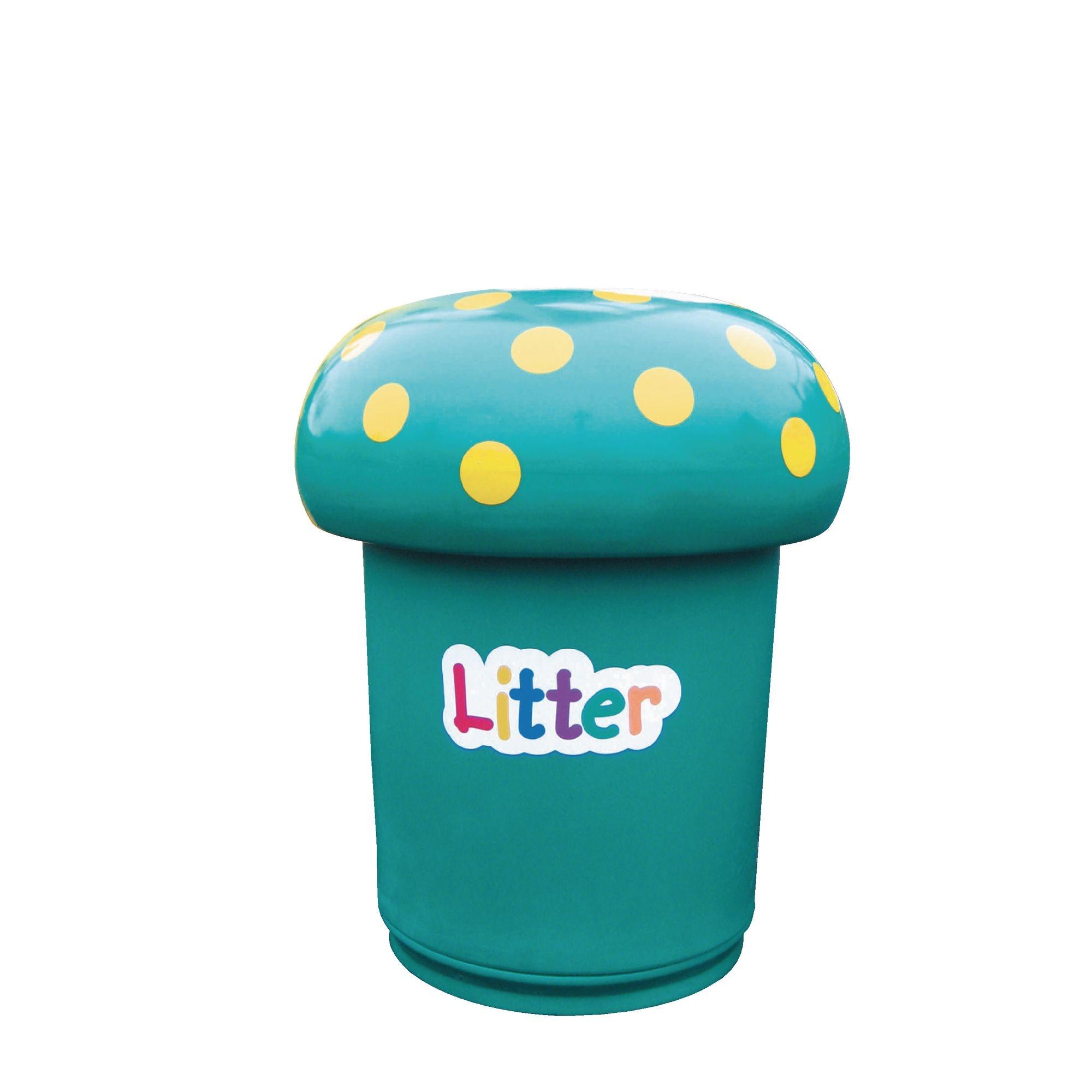 Mushroom Litter Bins Litter Label Green
