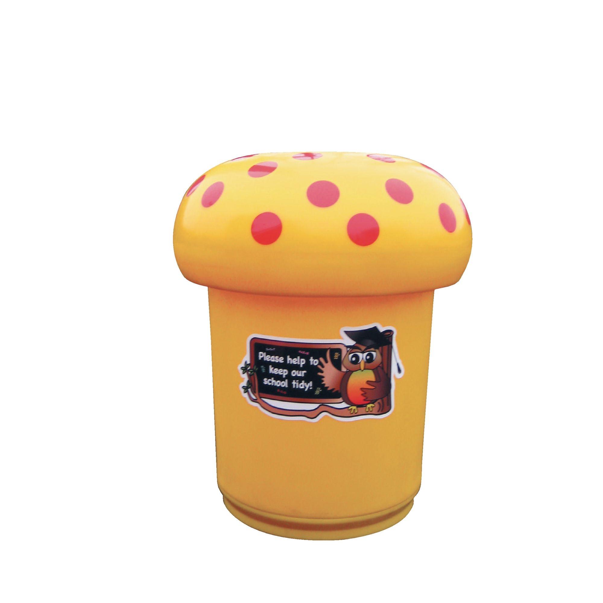 Mushroom Litter Bins Owl Graphics Orange