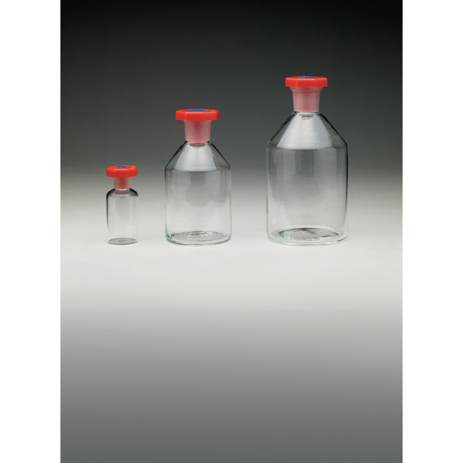 Clear Soda-Lime Glass Reagent Bottles with 'Polystop' Stoppers - 30mL - 14.5/23
