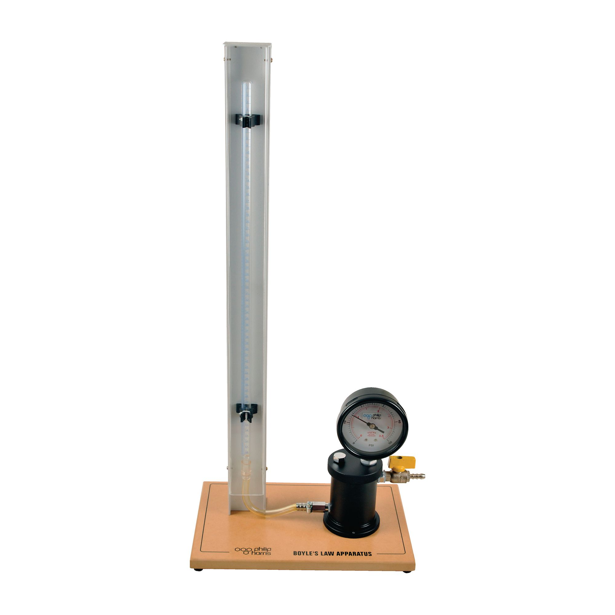 boyles law apparatus Description for obtaining precise readings of volume of a gas for a range of pressures the apparatus consists of two borosilicate glass tubes, closed at the top and.