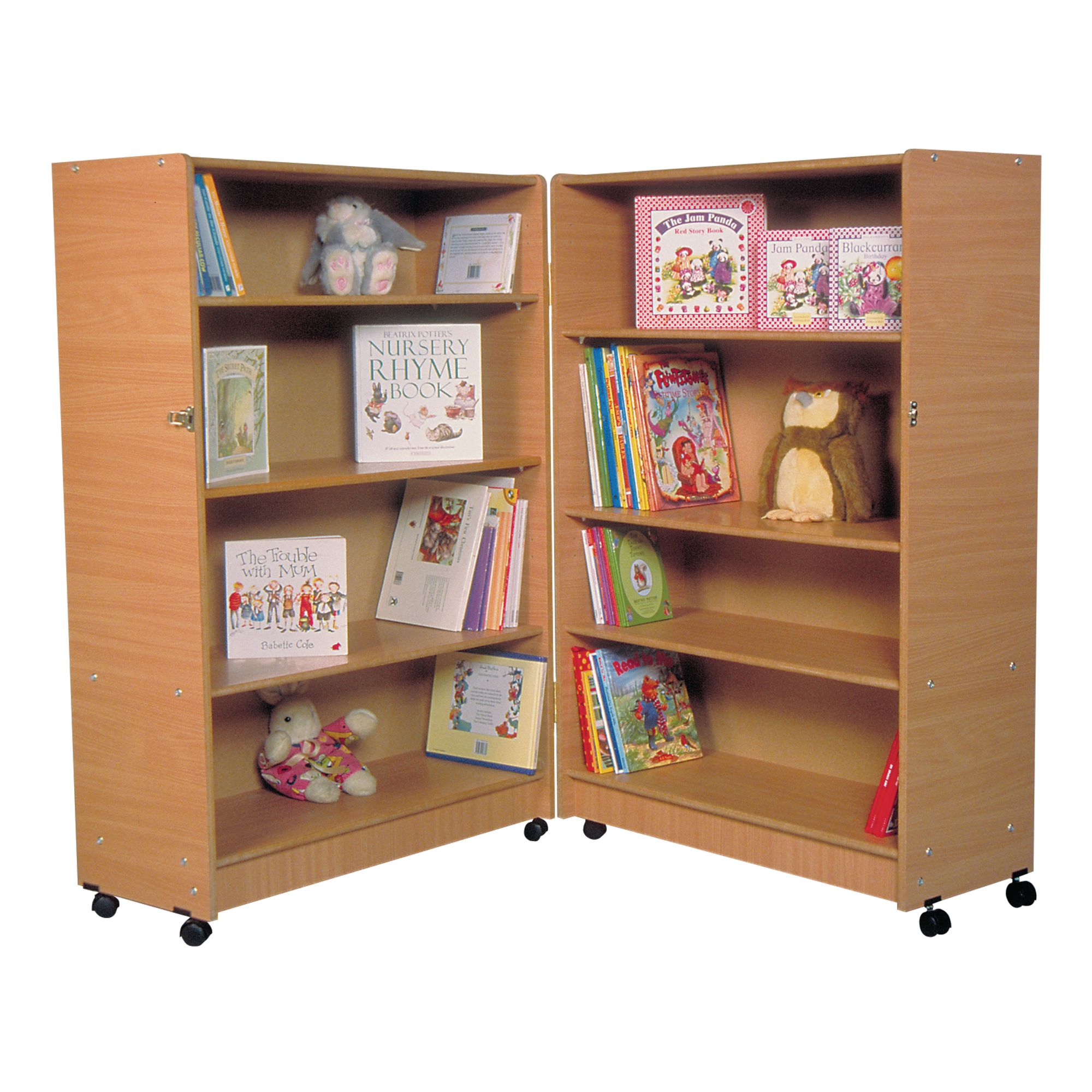 Beautiful Hinged And Adjustable Bookcase 800mm+ X 640 X 1260mm, Lockable Castors    Beech