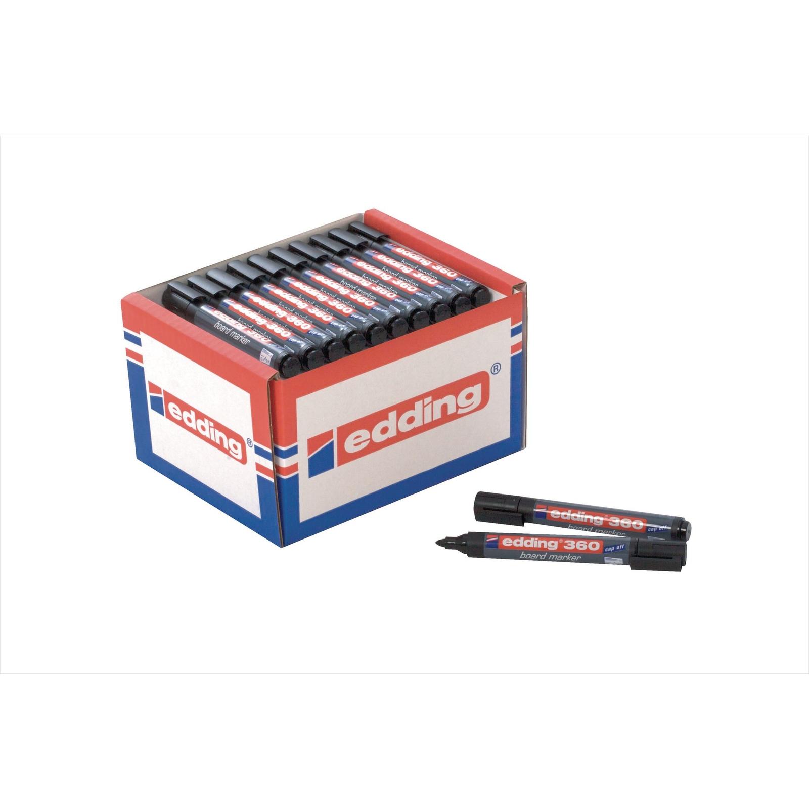 Edding 360 Whiteboard Marker Black, Bullet Tip - Pack of 10