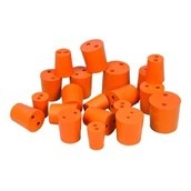 Red Rubber Stoppers Two Hole 21mm - Pack of 10