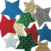 Holographic Star Shapes - Pack of 40