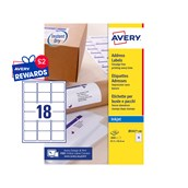 White Avery Jam-Free Quick PEEL Labels - 18 Labels, 63.5 x 46.6mm