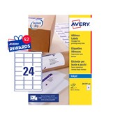 White Avery Jam-Free Quick PEEL Labels - 24 Labels, 64 x 34mm