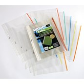 Coloured Edge Punched Pocket A4 Clear - Pack of 25