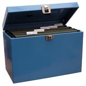 Metal Box File Foolscap Blue