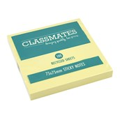 Classmates Recycled Sticky Notes - Yellow - 75 x 75mm - Pack of 12