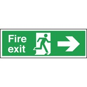 Safety Signs - Fire Exit Right Arrow - 150 x 450mm PVC