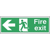 Safety Signs - Fire Exit Left Arrow - 150 x 450mm S/A