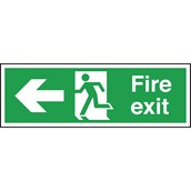 Safety Signs - Fire Exit Left Arrow - 150 x 450mm PVC