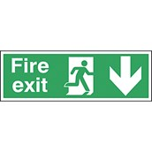 Safety Signs - Fire Exit Ahead Arrow - 150 x 450mm S/A