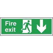 Safety Signs - Fire Exit Ahead Arrow - 150 x 450mm PVC