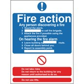 Safety Signs - Fire Action - 210 x 148mm S/A