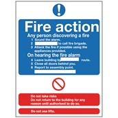 Fire Action Safety Signs - 210 x 148mm S/A