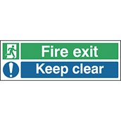 Safety Signs - Fire Exit Keep Clear - 150 x 450mm S/A