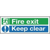 Safety Signs - Fire Exit Keep Clear - 150 x 450mm PVC