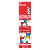 Fire Blanket Safety Signs - 280 x 90mm S/A