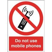 Safety Signs - Do Not Use Mobile Phones - 210 x 148mm S/A