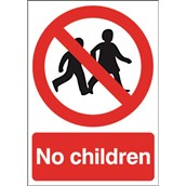 Safety Signs - No Children Sign - 210 x 148mm PVC