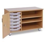 GALT - 6 Shallow Tray Paper Storage Unit - Clear Trays