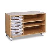 GALT - 6 Shallow Tray Paper Storage Unit Without Doors - Clear Trays