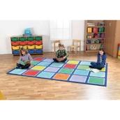 Rainbow Rectangular Placement Carpet - Squares
