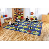 Back to Nature Square Bug Placement Rug
