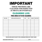 Cleaning Log Cards - pack of 10