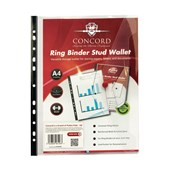 Concord Ring Binder Stud Wallet A4 Clear - Pack of 5