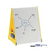 A3 Wedge – Table-Top, Dry-Wipe, Magnetic, Double-Sided Whiteboard with 4 Pens and 2 Board Rubbers – Yellow