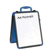 A3 Landscape Folding Wedge – Portable, Table-Top, Dry-Wipe, Magnetic, Double-Sided Whiteboard – Grey/Blue