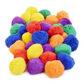 Coloured Fluff Balls - Assorted - Pack of 6