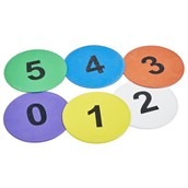 Numbered Throw Down Spots 0-5 - Assorted - Pack of 6