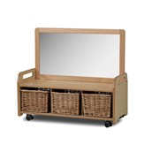 Millhouse Mobile Mirror Unit with Wicker Baskets