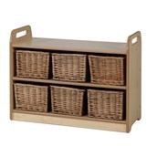 Millhouse Display Unit With Mirror and Wicker Baskets