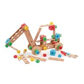 Tidlo Wooden Construction Set with tools - Pack of 91 pieces