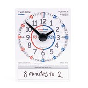 Easy Read Time Teacher - Twin Time Pupil Demonstration Clock