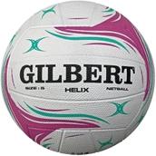 Gilbert Helix Match Netball - White/Purple/Turquoise - Size 5